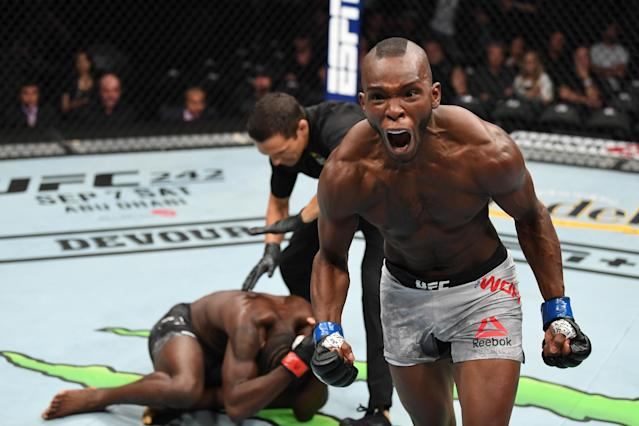 (R-L) Khama Worthy celebrates his TKO victory over Devonte Smith in their lightweight bout during UFC 241 at Honda Center on Aug. 17, 2019, in Anaheim, California. (Getty Images)