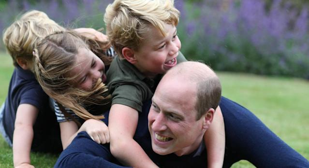 Adorable photos of the Duke of Cambridge with his three children Prince George, Princess Charlotte and Prince Louis, were released to celebrate the royals 38th birthday and Father's Day. (PA Images)