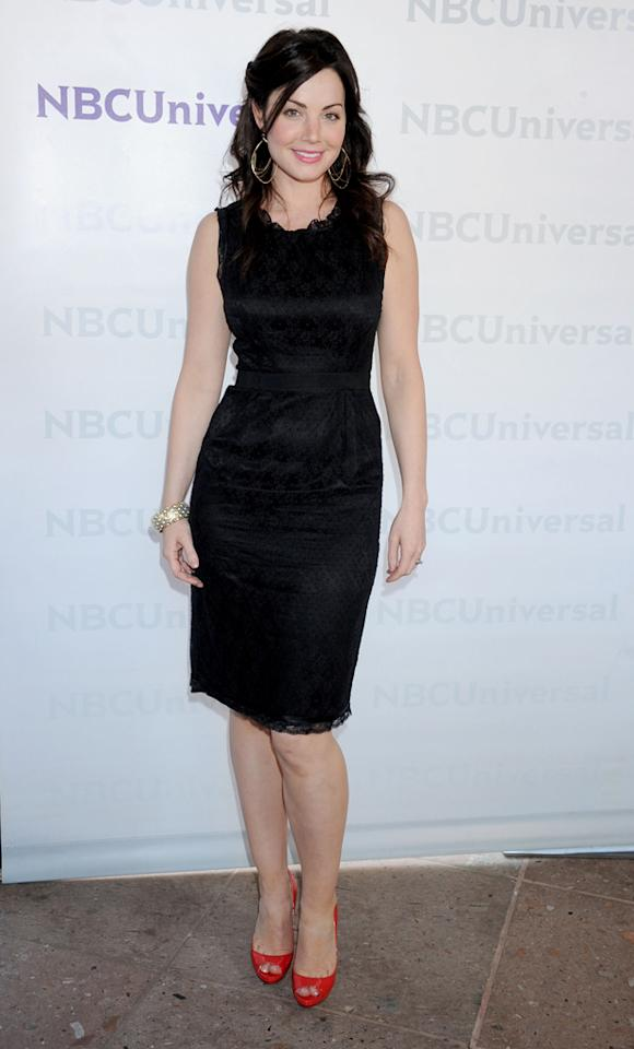 "Erica Durance (""<a href=""http://tv.yahoo.com/saving-hope/show/48347"">Saving Hope</a>"") arrives at NBC Universal's 2012 Summer Press Day at The Langham  Huntington Hotel and Spa on April 18, 2012 in Pasadena, California."