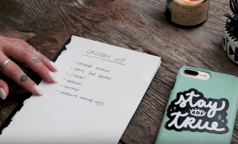 A picture showing Alyse Parker's carnivore shopping list. Source: Youtube.
