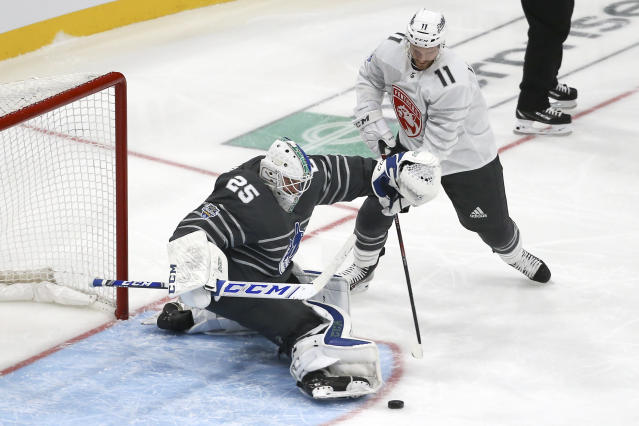 Vancouver Canucks goalie Jacob Markstrom (25) blocks a shot as Florida Panthers forward Jonathan Huberdeau (11) closes in during the NHL hockey All Star final game Saturday, Jan. 25, 2020, in St. Louis. (AP Photo/Scott Kane)
