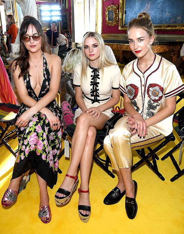 <p>The <i>Fifty Shades of Gray</i> star had her sisters, 20-year-old Stella Banderas, and Grace Johnson, 17, by her side at the 2018 Gucci Cruise fashion show. In case you're wondering, Stella has the same mom, Melanie Griffith, but a different dad, Antonio Banderas, while Grace's parents are Dakota's dad, Don Johnson, and his current wife, Kelley Phleger. (Photo: Venturelli/Getty Images for Gucci) </p>