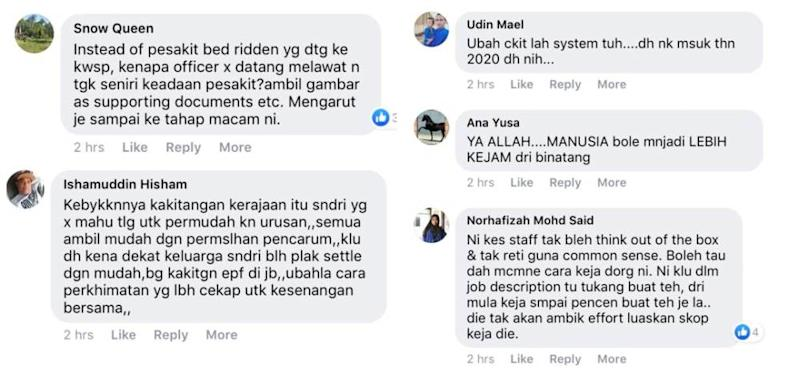 Social media users were infuriated at the incompetent service from the EPF officials as Nur Sheila's sister was forced to be stretchered into the office to withdraw her account balance. ― Screengrab via Facebook/Nur Sheila Abdullah.