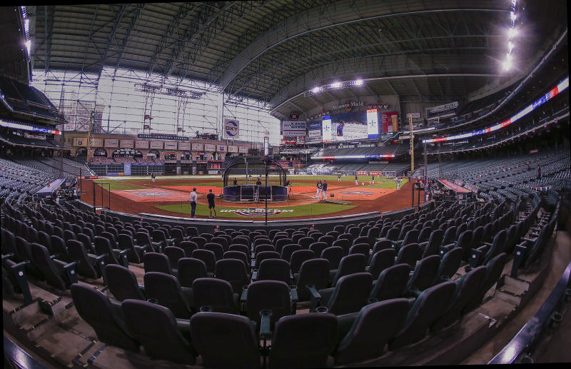 HOUSTON, TEXAS - JULY 24: A general view of Minute Maid Park as teams take batting practice during Opening Day at Minute Maid Park on July 24, 2020 in Houston, Texas. The 2020 season had been postponed since March due to the COVID-19 pandemic. (Photo by Bob Levey/Getty Images)