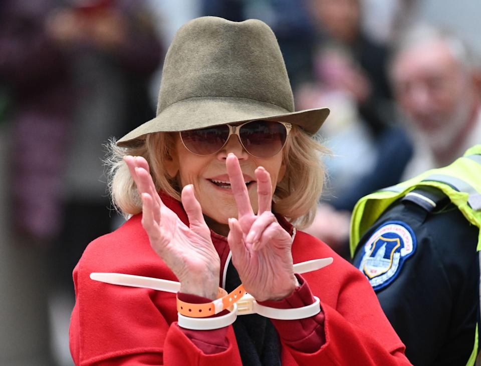 Jane Fonda is arrested by Capitol Police during a climate protest inside the Hart Senate office building on Nov. 1, 2019.
