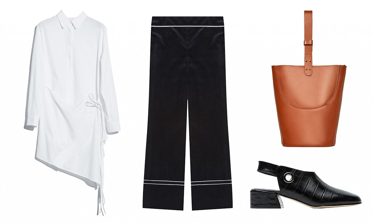 <p>Instead of wearing plain black trousers, go for a wide-legged, velvet version to give your work look an added layer of luxe. </p>