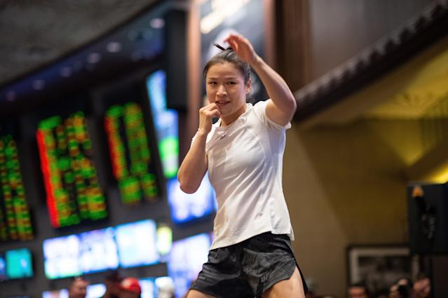 Zhang Weili of China holds an open training session for fans and media during the UFC 248 open workouts at MGM Grand on March 4, 2020 in Las Vegas. (Chris Unger/Zuffa LLC via Getty Images)