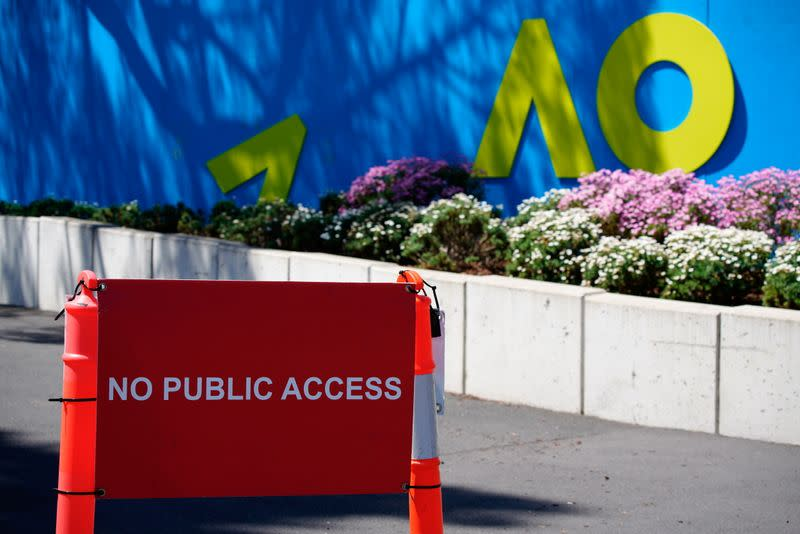 A sign prohibiting public access to an Australian Open training area in Melbourne