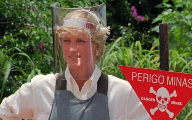 Diana, Princess of Wales, wearing protective gear, during a briefing by the British landmine-sweeping organisation Halo Trust in Huambo, central Angola, in January 1997 - Credit: GIOVANNI DIFFIDENTI/AFP