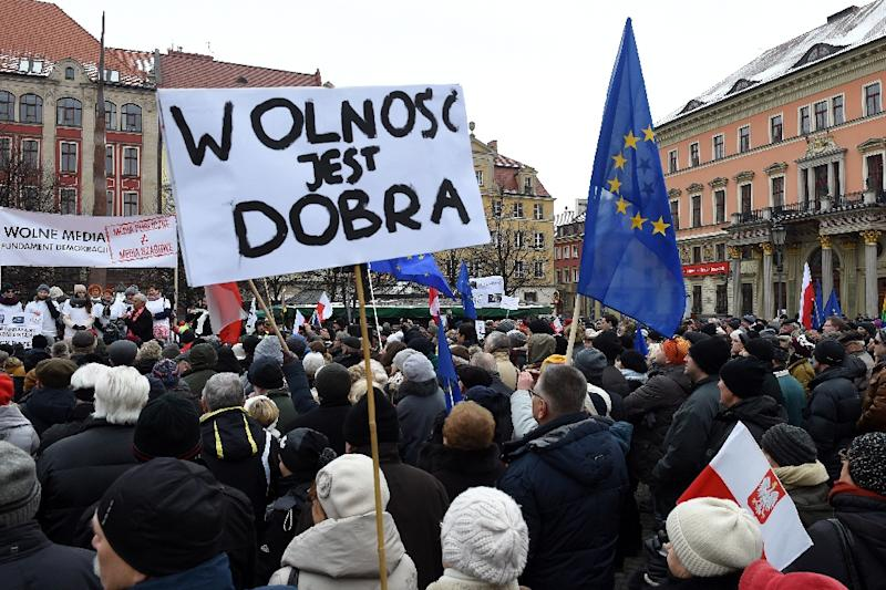 A poster say 'freedom is good' at a protest in Wroclaw on January 23, 2016 against the conservative government (AFP Photo/Janek Skarzynski)