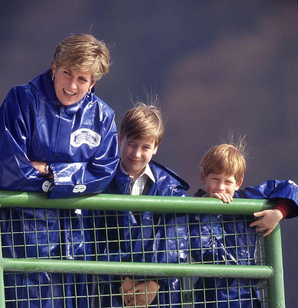 "<p>Clad in waterproof jackets, Diana, William, and Harry take a ride on the ""Maid of the Mist"" at Niagara Falls on October 1, 1991.</p>"