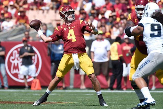 "<a class=""link rapid-noclick-resp"" href=""/ncaaf/players/225575/"" data-ylk=""slk:Max Browne"">Max Browne</a> started the first three games of 2016 for USC. (Getty)"