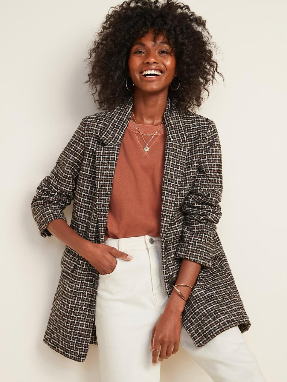 <p>Pair this <span>Oversized Soft-Brushed Patterned Blazer Jacket</span> ($54, originally $70) with jeans and a casual tee for a fresh look.</p>