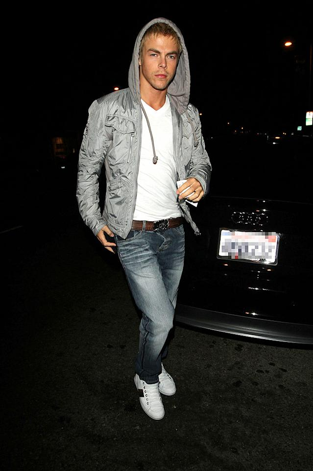 """Dance pro Derek Hough made an appearance at the gathering as well. Think his girlfriend Cheryl Cole will be jealous of his new partner? Hellmuth Dominguez/<a href=""""http://www. PacificCoastNews.com"""" target=""""new"""">PacificCoastNews.com</a> - August 30, 2010"""