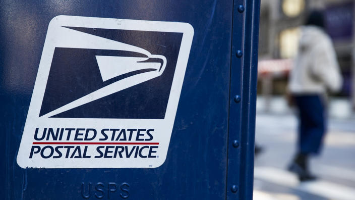 A USPS logo is seen on a mailbox on February 24, 2021, in New York City. (John Smith/VIEWpress via Getty Images)