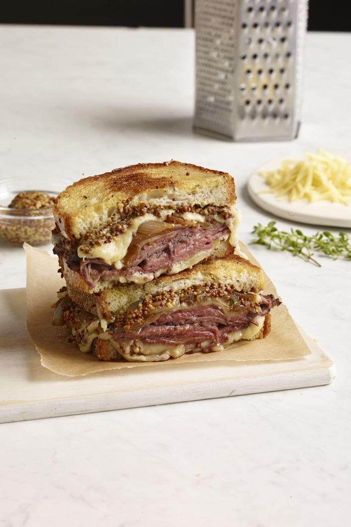 """<p>This is the roast beef sandwich of your dreams, but in grilled cheese form. </p><p><a href=""""https://www.womansday.com/food-recipes/food-drinks/recipes/a12184/roast-beef-french-onion-grilled-cheese-recipe-wdy1013/"""" rel=""""nofollow noopener"""" target=""""_blank"""" data-ylk=""""slk:Get the recipe for Roast Beef and Onion Grilled Cheese."""" class=""""link rapid-noclick-resp""""><em><strong>Get the recipe for Roast Beef and Onion Grilled Cheese. </strong></em></a></p>"""