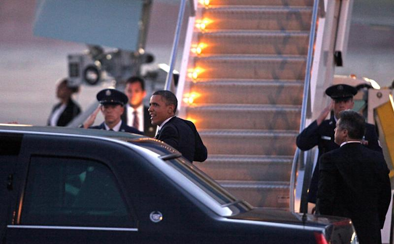 FILE - In this Sept. 12, 2012, file photo President Barack Obama exits his limousine to board Air Force One as he leaves Las Vegas, Nevada, after campaigning. The Obama campaign's dominance of the ground game, the volunteer-driven nuts and bolts of electioneering that ranges from registration drives to door-to-door canvassing, contributed mightily to its 2008 victory in Nevada. Four years later the economy is floundering and the president's poll numbers are subpar, but his re-election campaign is banking on its advantage on the ground, assisted by a new array of digital innovations, to deliver victory once again. (AP Photo/John Gurzinski)