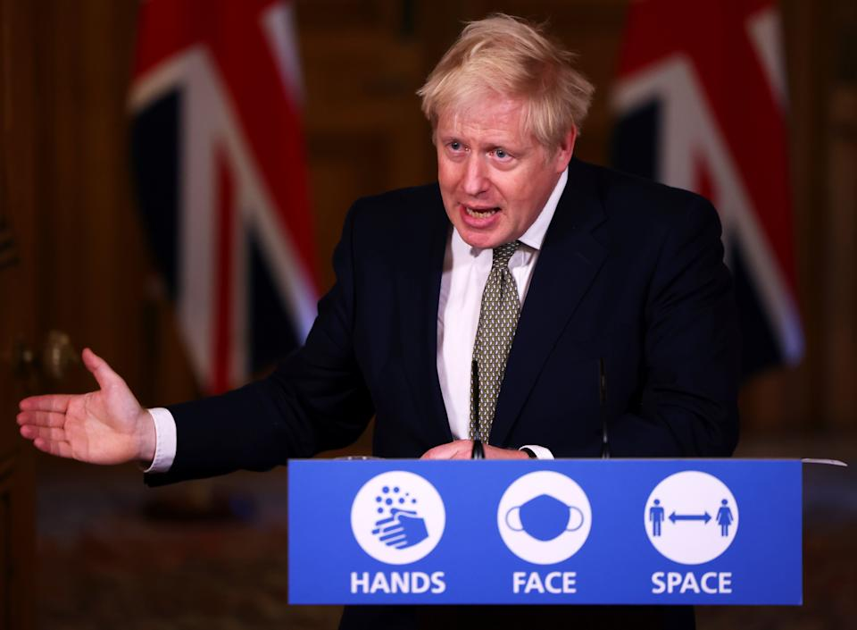 Britain's Prime Minister Boris Johnson attends a news conference on Thursday. (Photo: REUTERS)