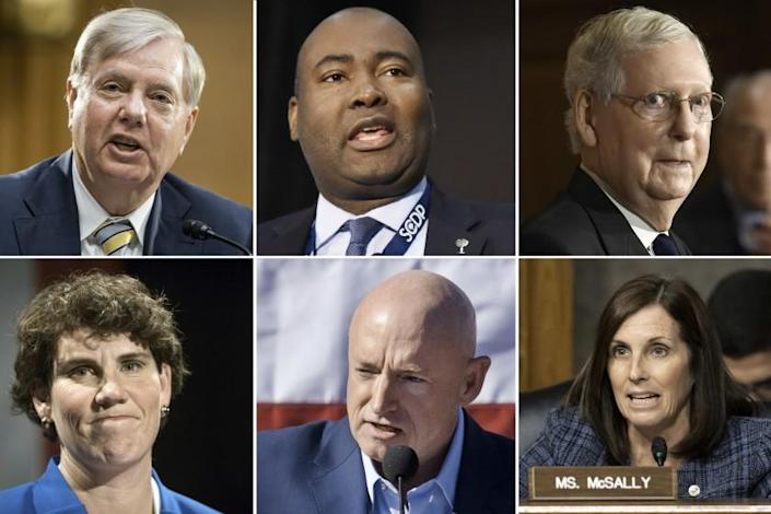 "Top row from left: Republican Sen. Lindsey Graham of South Carolina and challenger Jaime Harrison; Republican Kentucky Sen. Mitch McConnell. Bottom row from left: McConnell's Democratic challenger, Amy McGrath; Arizona Democrat Mark Kelly, who is battling Sen. Martha McSally. <span class=""copyright"">(Associated Press)</span>"