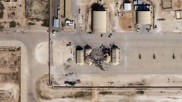 PHOTO: This Jan. 8, 2020, satellite image released by Planet Labs Inc., reportedly shows damage to the Ain al-Asad airbase housing U.S. forces in western Iraq, after being hit by rockets from Iran. (Ho/Planet Labs Inc. /AFP via Getty )