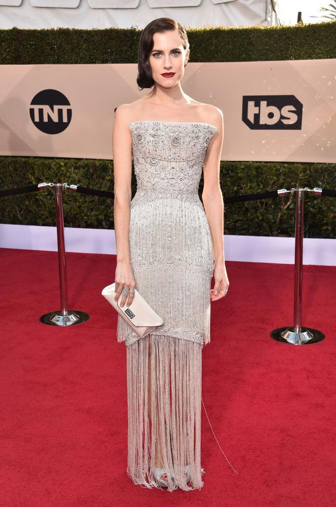 <p>Williams stunned in a structured and shimmering gown. (Photo: Getty Images) </p>