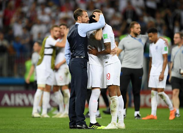 England players were distraught after seeing their World Cup dreams dashed.