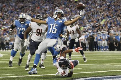 Golden Tate's (15) touchdown against the Bears in October is still being called into question. (AP)