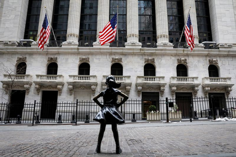 The Fearless Girl statue is seen outside the NYSE is seen in New York