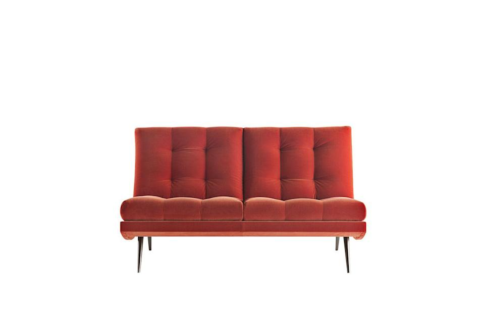 "<p>Especially resplendent in this punchy orange velvet, this sofa's silhouette is inspired by the furniture shapes from the 1950s – ideal for anyone with a passion for mid-century design. £6,500, <a href=""http://www.rubelli.com/it/triennale-sofa-2-12105.html#tab-2"" rel=""nofollow noopener"" target=""_blank"" data-ylk=""slk:rubelli.com"" class=""link rapid-noclick-resp"">rubelli.com</a></p>"