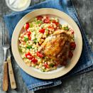 <p>Chicken thighs are easy on the budget and great for grilling because they stay moist in the heat. Here, they are paired with a fresh corn and tomato salad for a simple summer dinner. When grilling skin-on chicken thighs, watch for flare-ups. Move the chicken away from the flames and reduce heat, if necessary, to keep it from charring.</p>