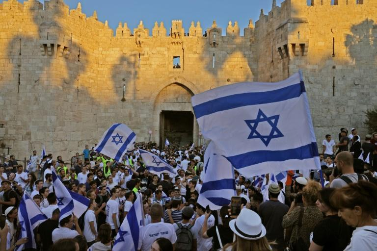 """Ultranationalist Israelis demonstrate outside the flashpoint Damascus Gate in Jerusalem to mark Israel's 1967 """"re-unification"""" of the city"""