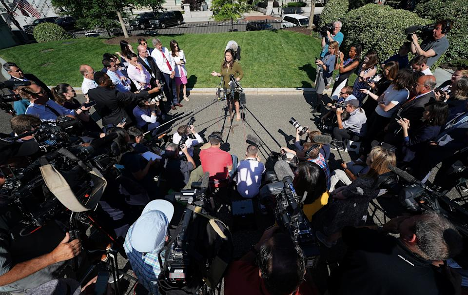 WASHINGTON, DC - MAY 31:  White House press secretary Sarah Sanders answers questions at the White House May 31, 2019 in Washington, DC. Sanders responded primarily to questions about potential tariffs with Mexico announced by U.S. President Donald Trump last night via Twitter. (Photo by Win McNamee/Getty Images)