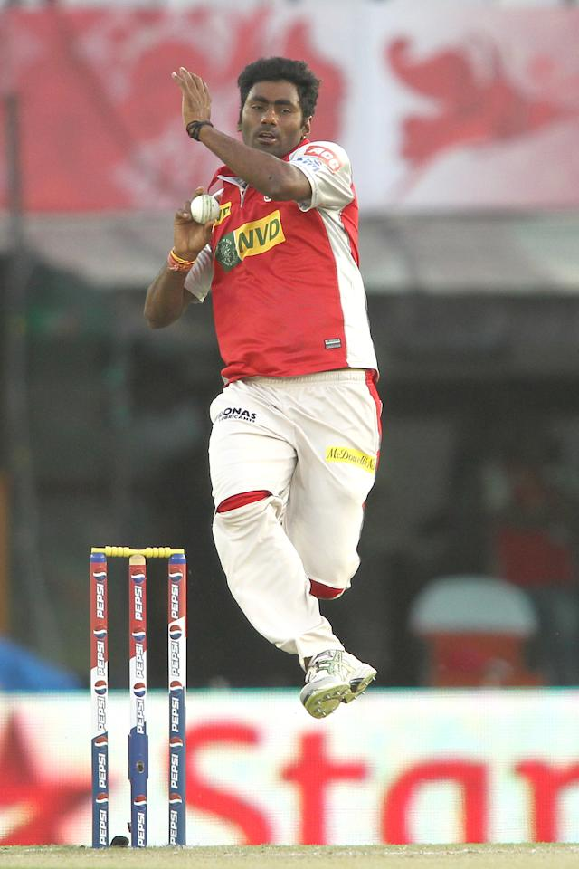 Parvinder Awana of Kings XI Punjab sends down a delivery during match 20 of the Pepsi Indian Premier League between The Kings XI Punjab and the Kolkata Knight Riders held at the PCA Stadium, Mohal, India  on the 16th April 2013..Photo by Shaun Roy-IPL-SPORTZPICS  ..Use of this image is subject to the terms and conditions as outlined by the BCCI. These terms can be found by following this link:..https://ec.yimg.com/ec?url=http%3a%2f%2fwww.sportzpics.co.za%2fimage%2fI0000SoRagM2cIEc&t=1503012825&sig=Z1sobIl1ECcxxyxlfNdKxQ--~D