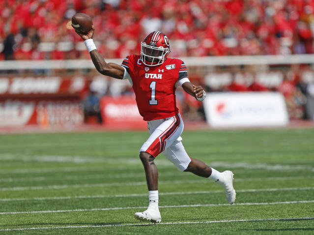 Utah quarterback Tyler Huntley (1) passes the ball against Northern Illinois in the first half of an NCAA college football game Saturday, Sept. 9, 2019, Salt Lake City. (AP Photo/Rick Bowmer)