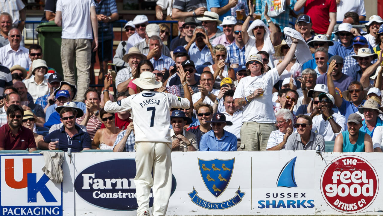 Sussex's Monty Panesar reacts with the crowd during day one of the international tour match against Australia at the BrightonandHoveJobs.com County Cricket Ground, Hove.