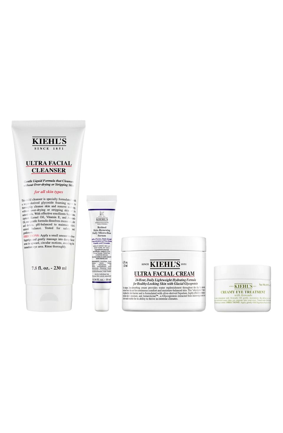 """<p><strong>Kiehl's Since 1851 </strong></p><p>nordstrom.com</p><p><a href=""""https://go.redirectingat.com?id=74968X1596630&url=https%3A%2F%2Fwww.nordstrom.com%2Fs%2Fkiehls-since-1851-ultra-facial-cleanser-set-156-value%2F5936282%3Forigin%3Dcategory-personalizedsort%26breadcrumb%3DHome%252FAnniversary%2BSale%252FBeauty%2BExclusives%252FSkin%2BCare%26color%3D000&sref=https%3A%2F%2Fwww.harpersbazaar.com%2Fbeauty%2Fg36991550%2Fnordstrom-anniversary-sale-beauty-deals%2F"""" rel=""""nofollow noopener"""" target=""""_blank"""" data-ylk=""""slk:Shop Now"""" class=""""link rapid-noclick-resp"""">Shop Now</a></p><p><strong>Sale: $88</strong></p><p><strong>Value: $156</strong></p><p>This set of Kiehl's skincare favorites includes the brand's gentle, combination skin-friendly Ultra Facial Cleanser (a <a href=""""https://www.harpersbazaar.com/beauty/skin-care/a26412880/anti-aging-awards/"""" rel=""""nofollow noopener"""" target=""""_blank"""" data-ylk=""""slk:BAZAAR 2021 Anti-Aging Award winner"""" class=""""link rapid-noclick-resp"""">BAZAAR 2021 Anti-Aging Award winner</a>), a moisturizing facial cream, a nourishing creamy eye treatment and a travel size version of the brand's new Retinol serum. </p>"""