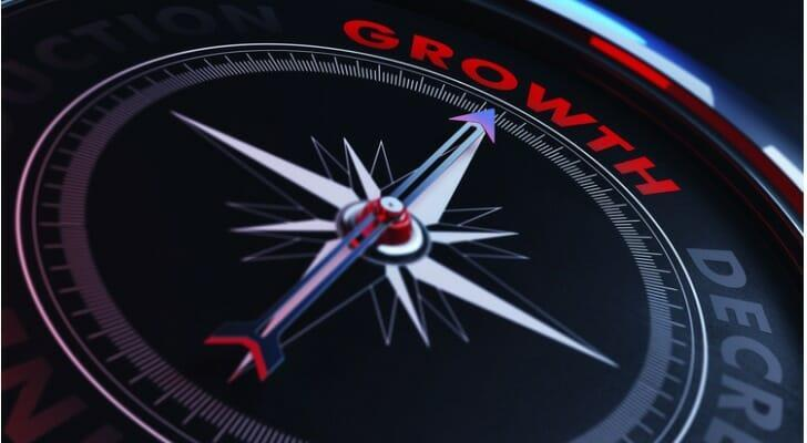 """Compass with a """"GROWTH"""" mark on it"""