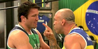 Chael Sonnen (L) and Wanderlei Silva are each on temporary suspension by the Nevada Athletic Commission because of drug test issues.