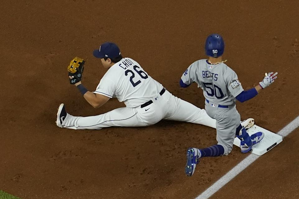 Tampa Bay Rays first baseman Ji-Man Choi forces out Dodgers' Mookie Betts out during Game 3 of the World Series.