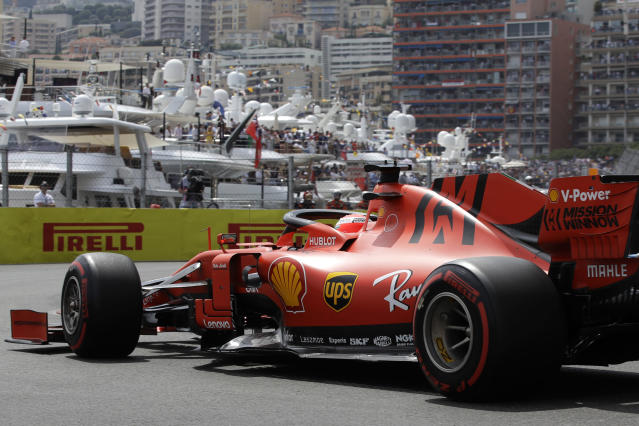 Ferrari driver Sebastian Vettel of Germany steers his car during the qualifying session at the Monaco racetrack, in Monaco, Saturday, May 25, 2019. The Formula one race will be held on Sunday. (AP Photo/Luca Bruno)