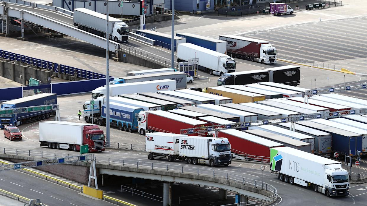 A lorries arrive at the Port of Dover in Kent. Hauliers travelling to England from outside the UK for visits lasting more than two days will be tested for coronavirus from April 6. Hauliers, including drivers and crew of heavy goods vehicles and vans, will need to be tested within 48 hours of arriving and then every three days. Picture date: Tuesday April 6, 2021. (Photo by Gareth Fuller/PA Images via Getty Images)