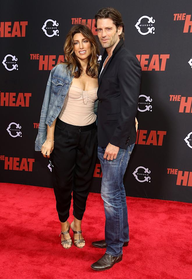 "NEW YORK, NY - JUNE 23: (L-R) Jennifer Esposito and Louis Dowler attend ""The Heat"" New York Premiere at Ziegfeld Theatre on June 23, 2013 in New York City. (Photo by Astrid Stawiarz/Getty Images)"