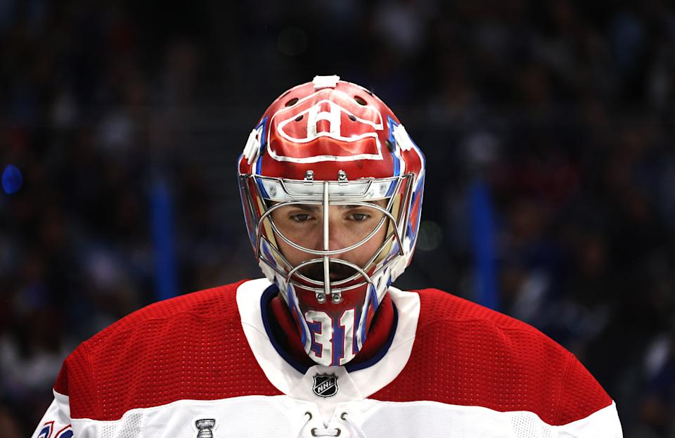 TAMPA, FLORIDA - JULY 07: Goaltender Carey Price #31 of the Montreal Canadiens looks on during the second period of Game Five of the 2021 Stanley Cup Final against the Tampa Bay Lightning at Amalie Arena on July 07, 2021 in Tampa, Florida. (Photo by Dave Sandford/NHLI via Getty Images)