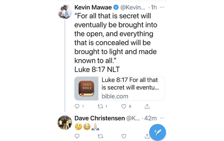 A screengrab of Kevin Mawae's deleted tweet on Tuesday. (twitter)