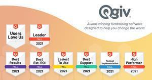 Graphic showing the G2 award badges Qgiv received for the fall of 2021.