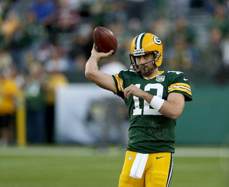 Aaron Rodgers of the Green Bay Packers warms up before a game against the  Chicago Bears fe56c32bb