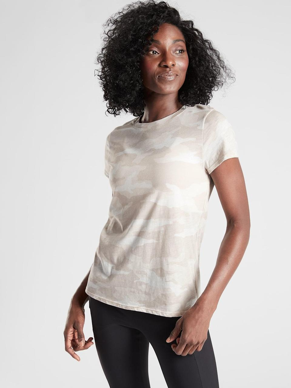 <p>They can never have too many T-shirts. Gift this supersoft <span>Athleta Organic Daily Camo Crew</span> ($35, originally $49).</p>