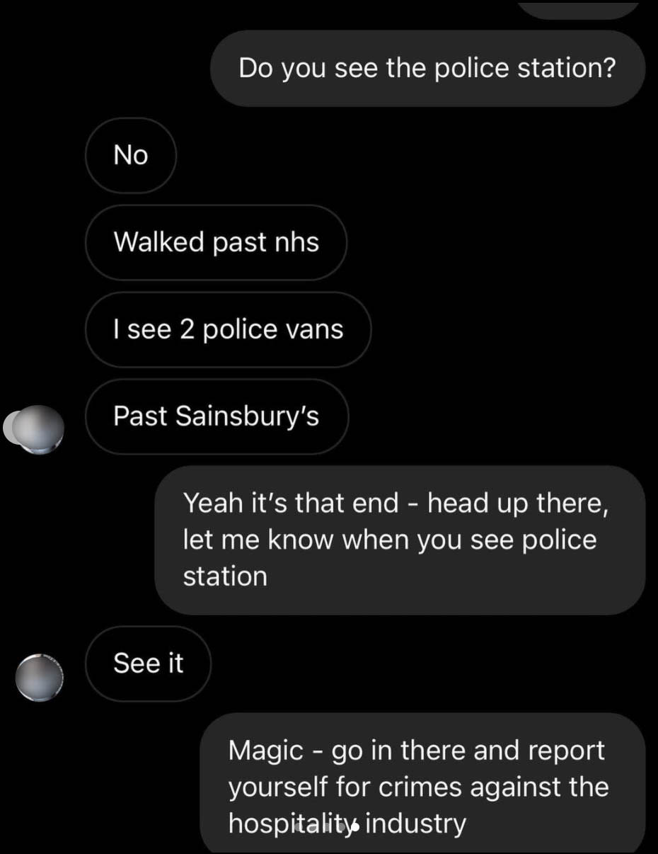 Four Legs told the influencer to turn themselves into police for