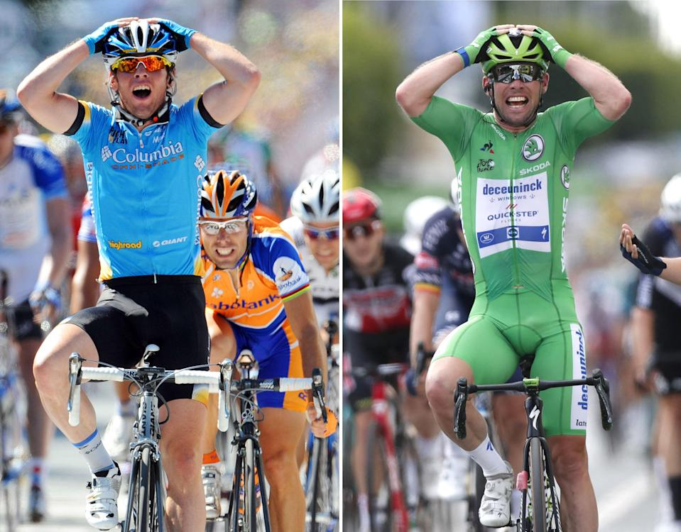 Mark Cavendish in Chateauroux in 2008 and again in 2021 (GEtty)