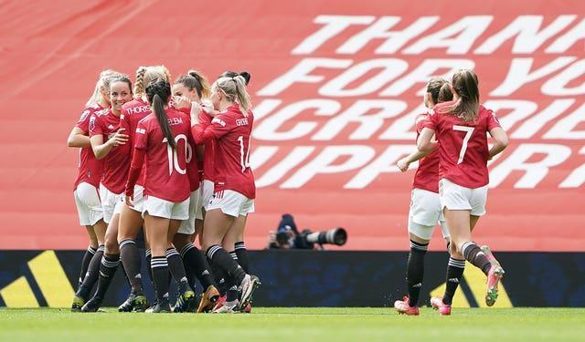 Manchester United celebrate Lauren James' opener